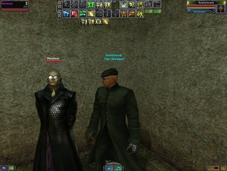 Morpheus (Laurence Fishburne[left]) and RowdyGowdy (Joey Paul Gowdy[right]) in The Matrix Online on the server Recursion.