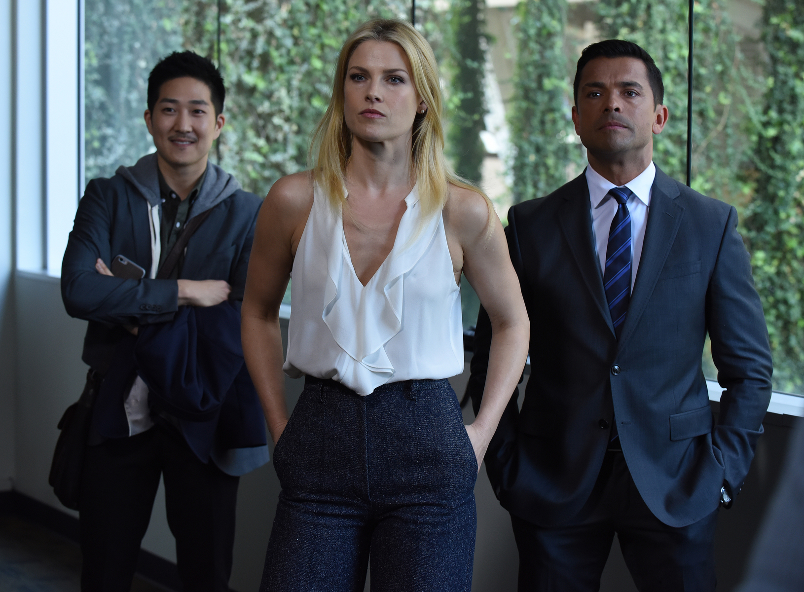 Ali Larter, Mark Consuelos, and Tim Jo in Pitch (2016)