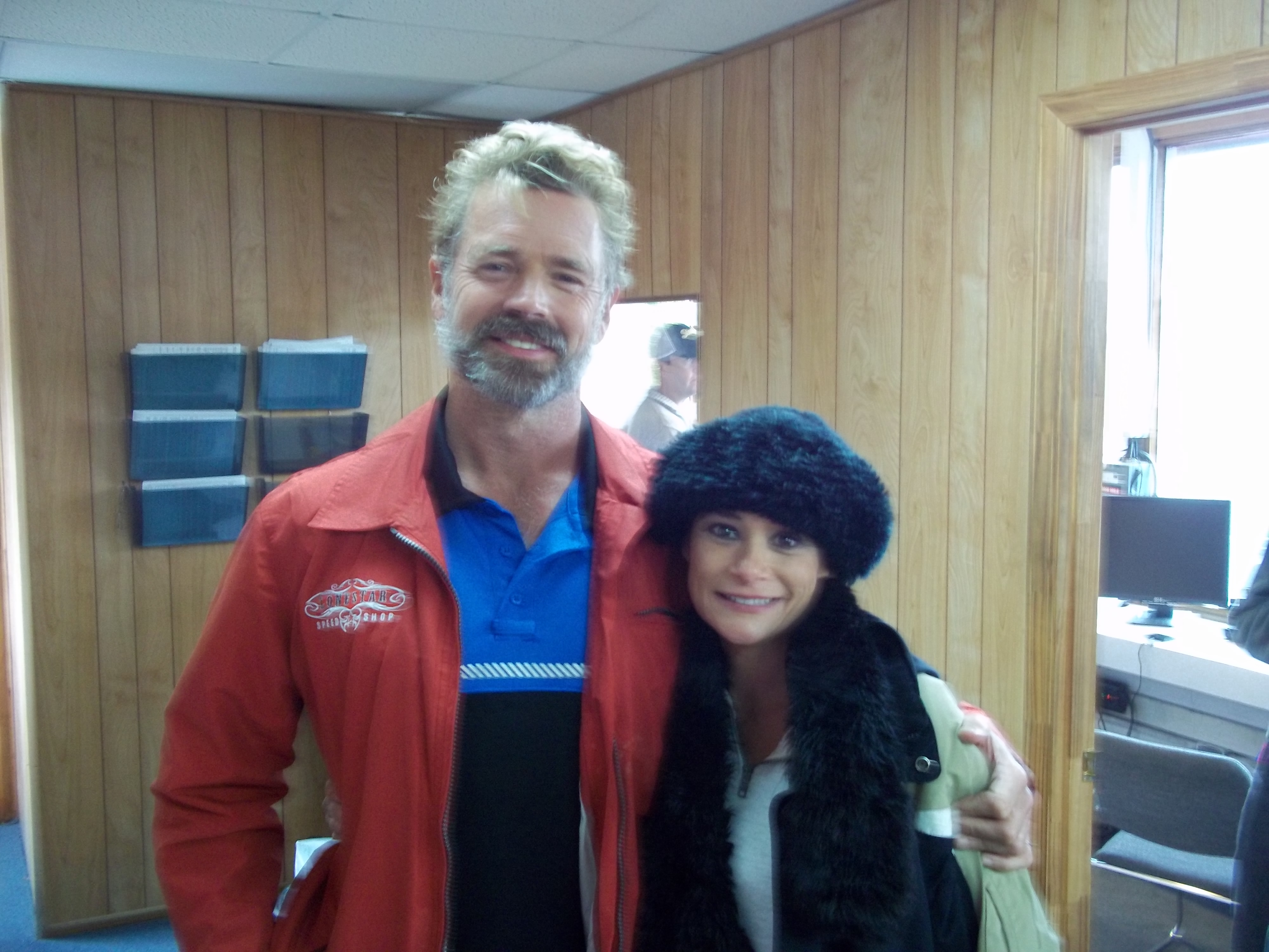 Irene Santiago with John Schneider on the set of Adrenaline.