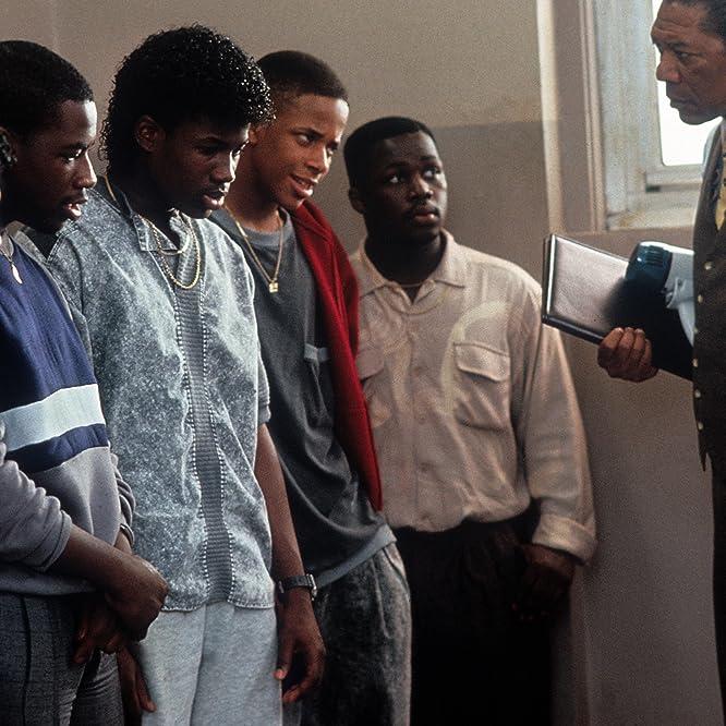 Morgan Freeman, Michael Best, Stephen Capers Jr., Jermaine 'Huggy' Hopkins, Dwayne Jones, and Kenneth Kelly in Lean on Me (1989)