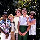 Robert Carradine, Curtis Armstrong, Timothy Busfield, Andrew Cassese, and Larry B. Scott in Revenge of the Nerds II: Nerds in Paradise (1987)