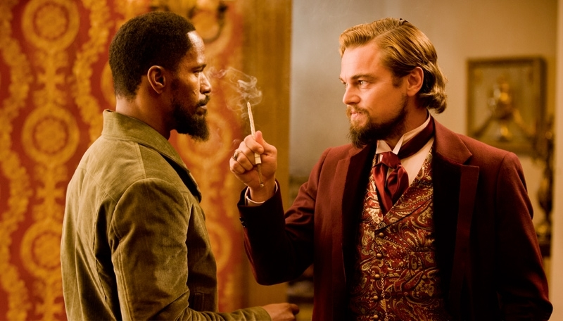 Leonardo DiCaprio and Jamie Foxx in Django Unchained (2012)