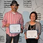 """Chris Tashima accepts Best Actor Award, and executive producer Carole Fujita accepts Best Narrative Short Award, for """"Lil Tokyo Reporter""""  at the Los Angeles International Underground Film Festival - June 23, 2013; Whitefire Theatre, Sherman Oaks CA"""