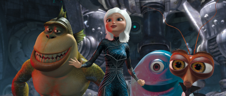 Reese Witherspoon, Will Arnett, Hugh Laurie, and Seth Rogen in Monsters vs. Aliens (2009)