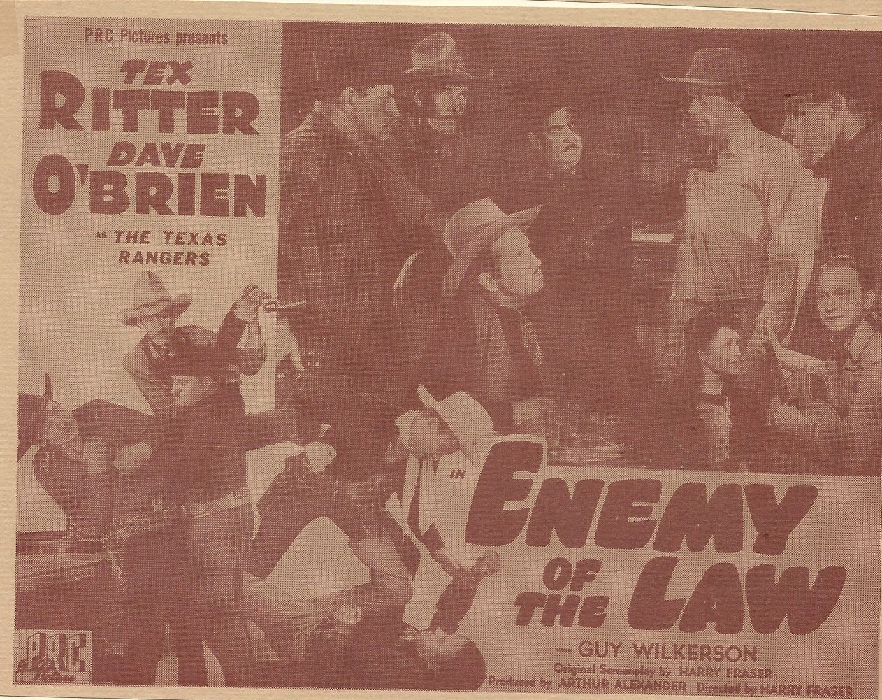 Frank Ellis, Kay Hughes, Jack Ingram, Charles King, Kermit Maynard, Dave O'Brien, Tex Ritter, and Guy Wilkerson in Enemy of the Law (1945)