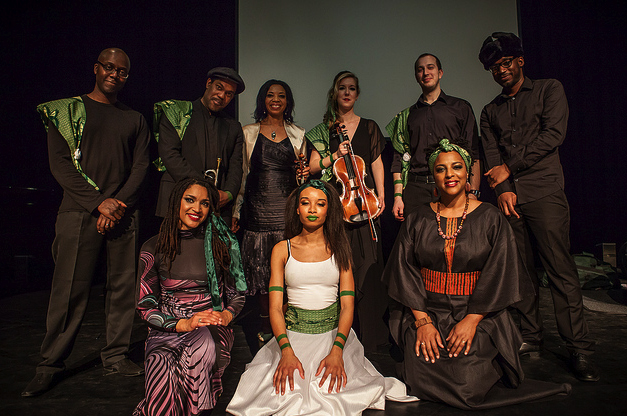 The Mandela Tales cast on the stage at The Purcell Rooms at London's Royal Festival Hall in 2012. With Yolanda Grant Thompson, Byron Wallen, Kerri McLean, Katrina Brown, Robert Mitchell, Jon Normston and Shirley Thompson.
