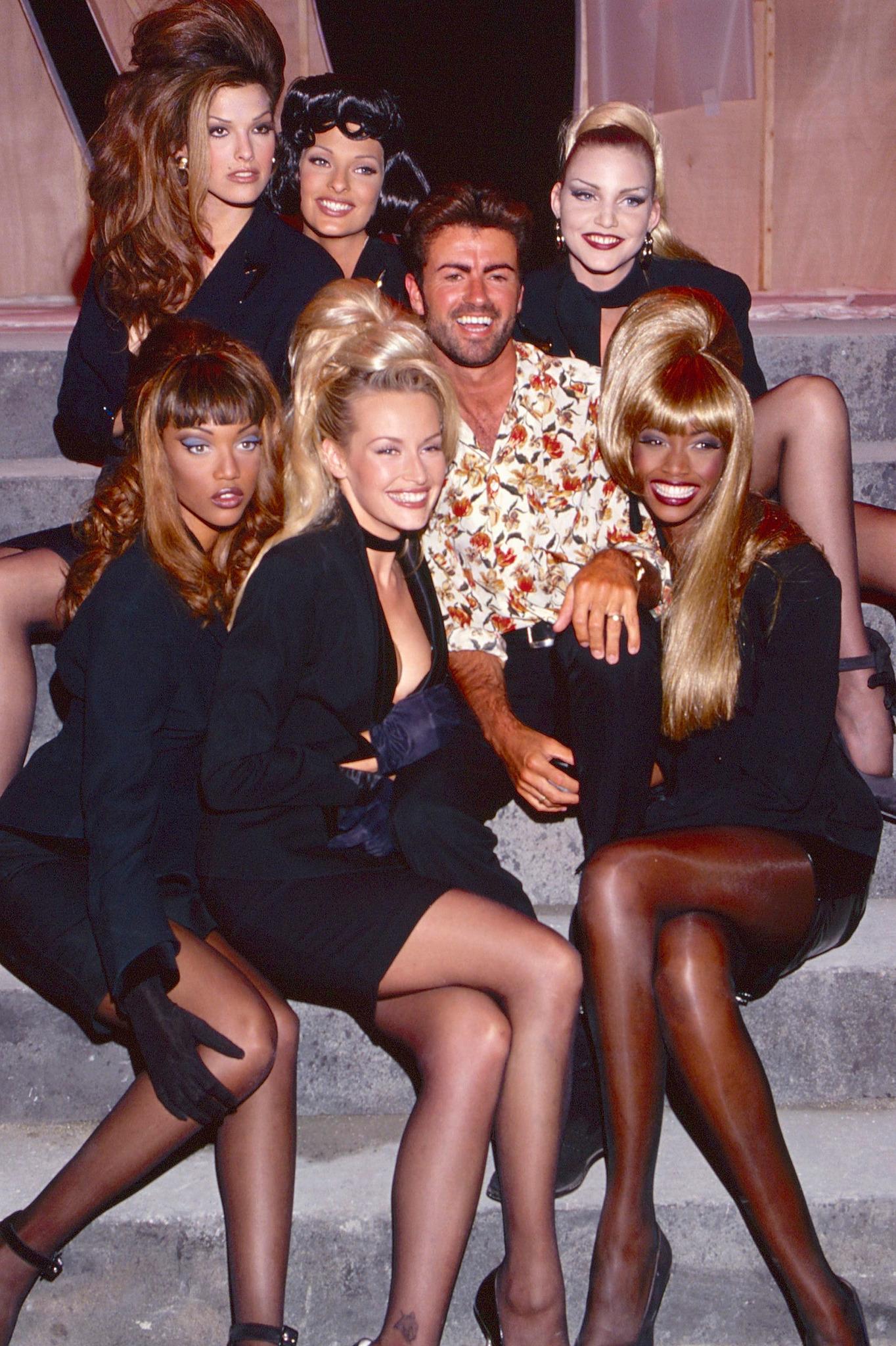 Tyra Banks, Linda Evangelista, Estelle Lefébure, George Michael, Nadja Auermann, Beverly Peele, and Shana Zadrick