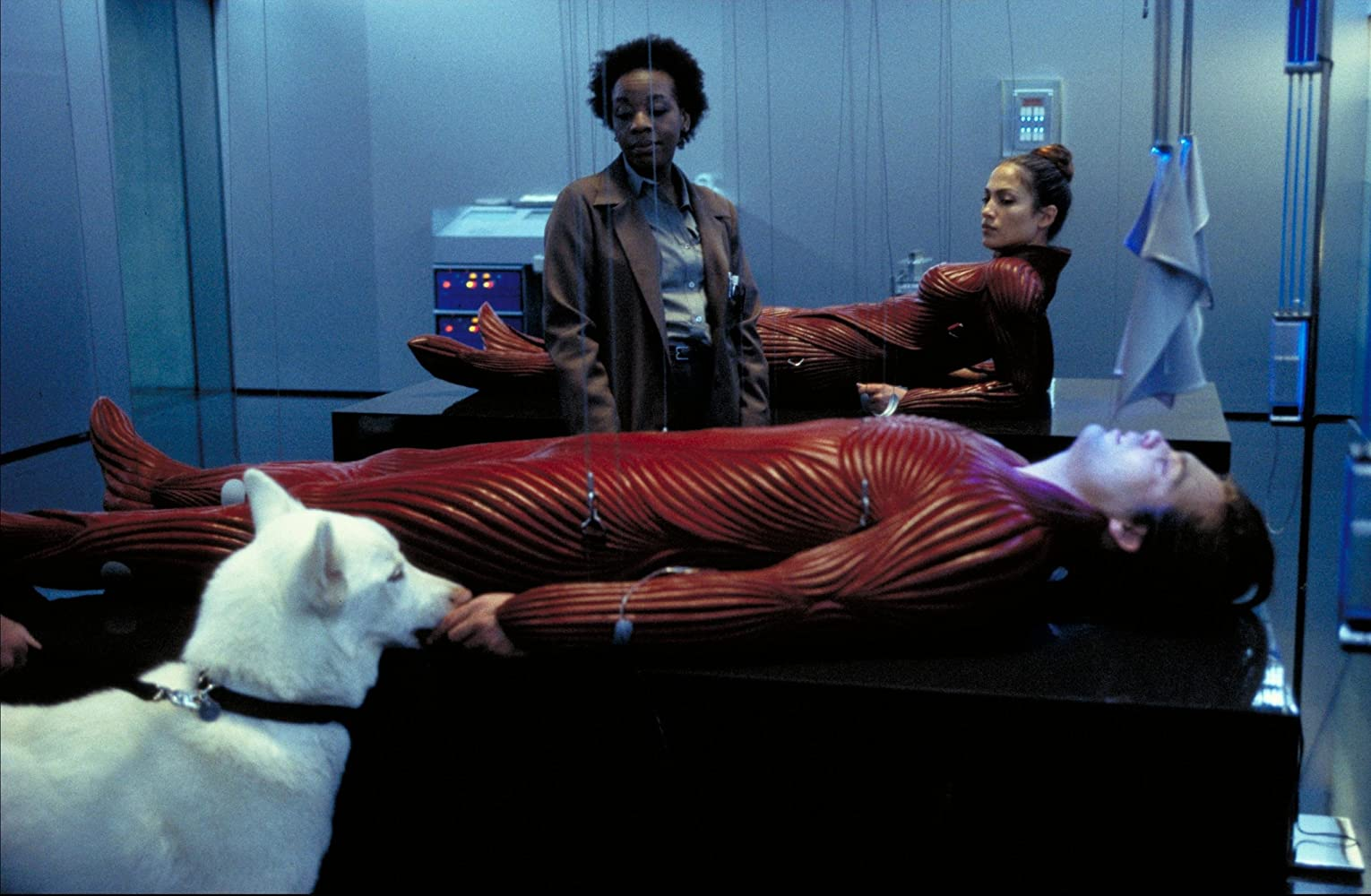 Jennifer Lopez, Vincent D'Onofrio, and Marianne Jean-Baptiste in The Cell (2000)