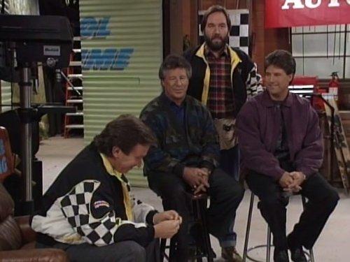 Tim Allen, Mario Andretti, Michael Andretti, and Richard Karn in Home Improvement (1991)