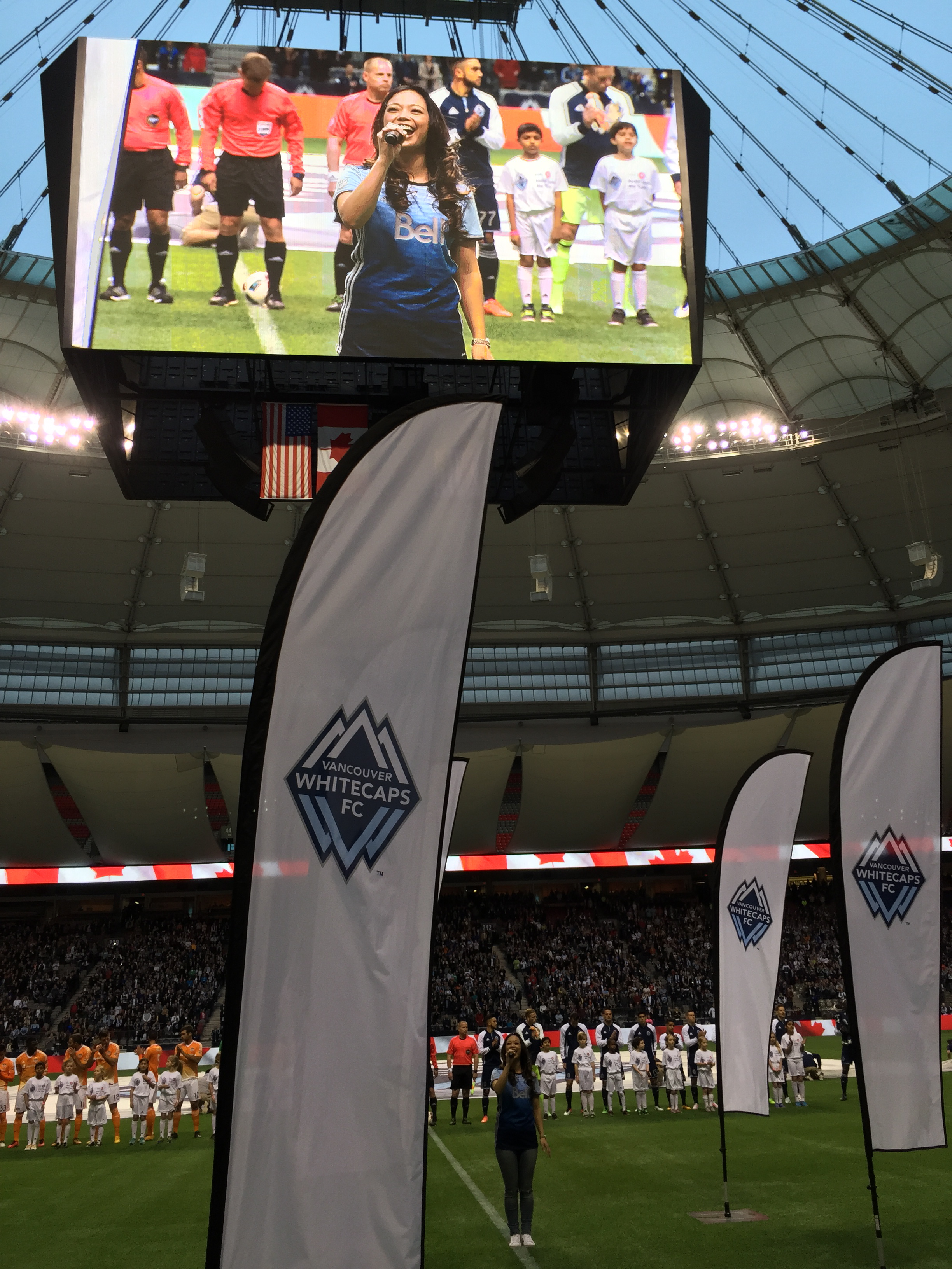 Singing the Canadian & American Anthems at the Vancouver Whitecaps vs. Houston Dynamo MLS Game, at BC Place in Vancouver