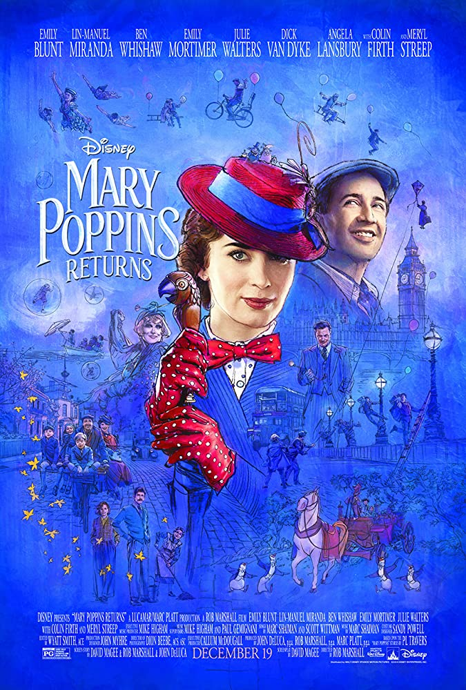 Colin Firth, Meryl Streep, Lin-Manuel Miranda, Emily Mortimer, Julie Walters, Ben Whishaw, and Emily Blunt in Mary Poppins Returns (2018)