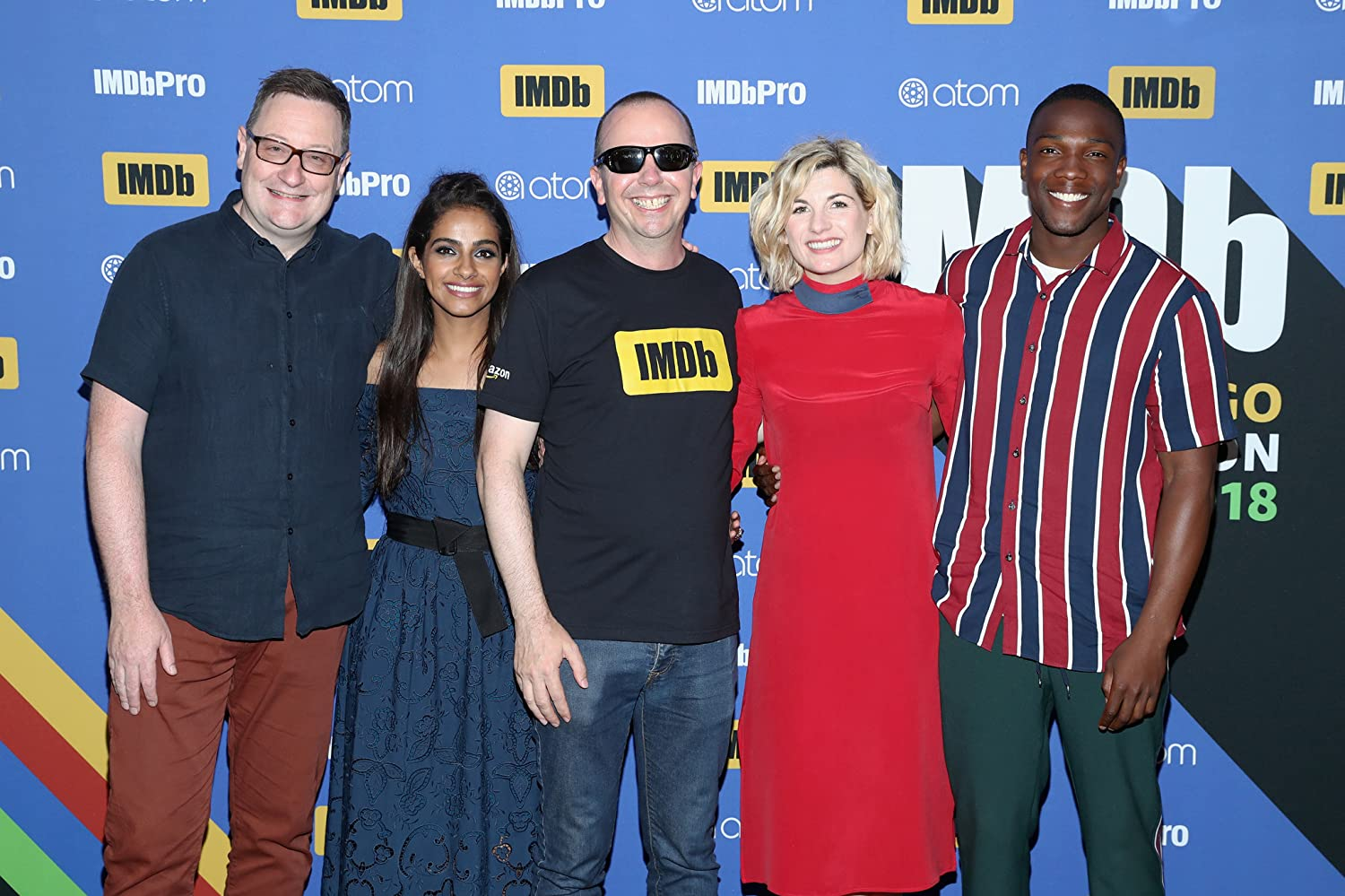 Col Needham Chris Chibnall Jodie Whittaker Tosin Cole and Mandip Gill at an event for Doctor Who 2005
