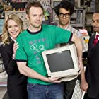 Rocky Carroll, Joel McHale, Jessica St. Clair, and Richard Ayoade in The IT Crowd (2006)