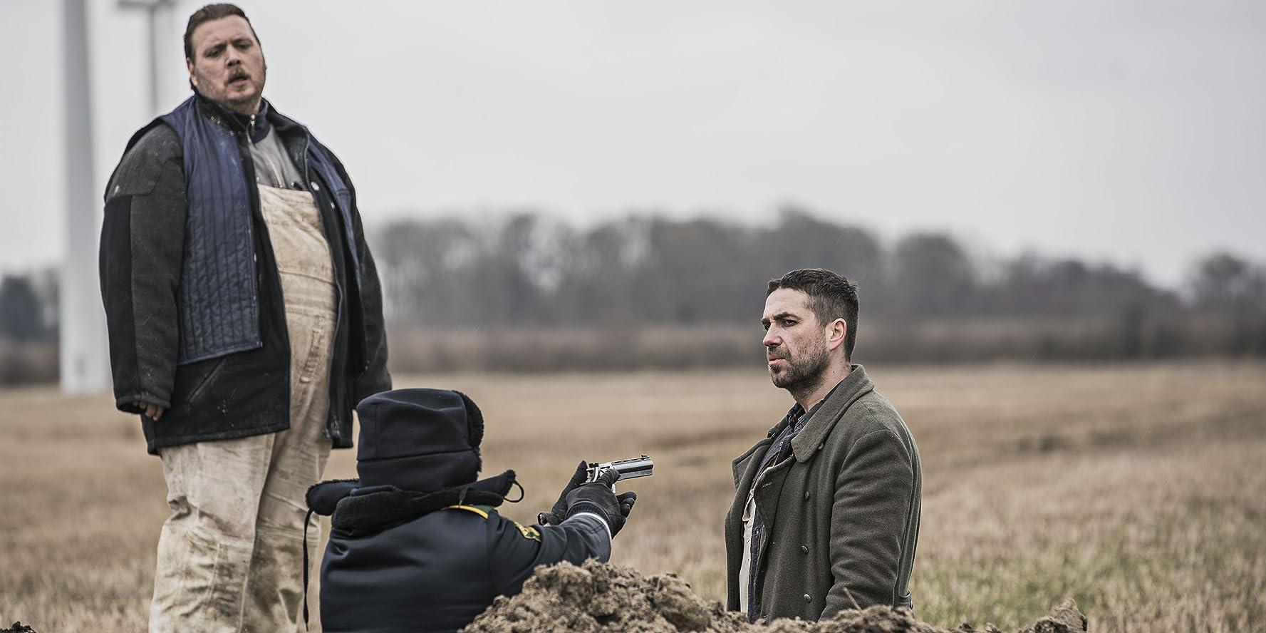 Nicolas Bro, Marcin Dorocinski, and Søren Malling in Dræberne fra Nibe (2017)