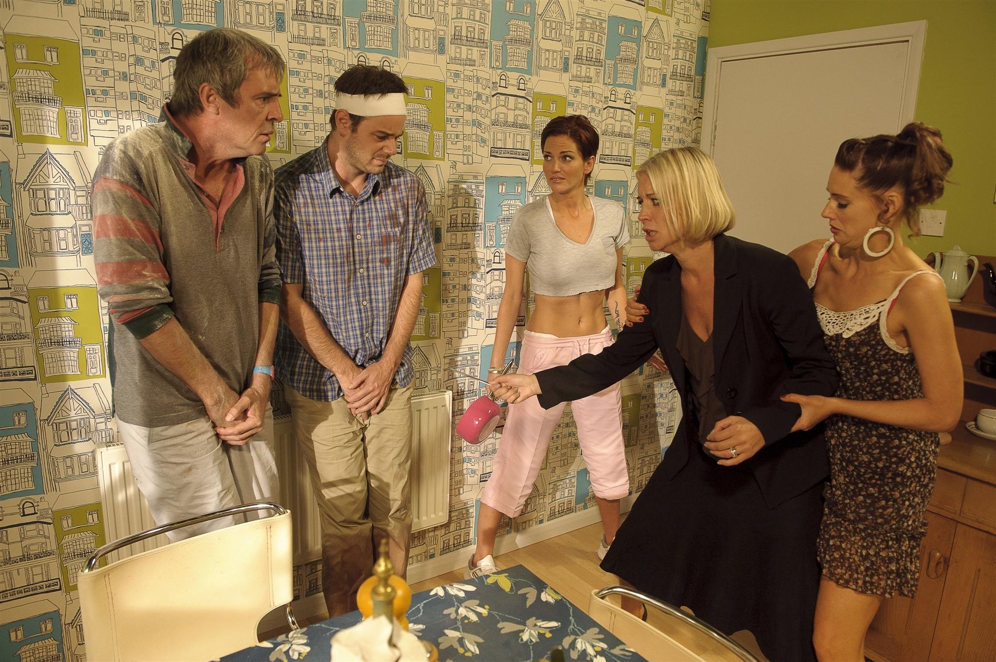 Danny Dyer, Neil Morrissey, Denise Van Outen, Kellie Shirley, and Sarah Harding in Run for Your Wife (2012)