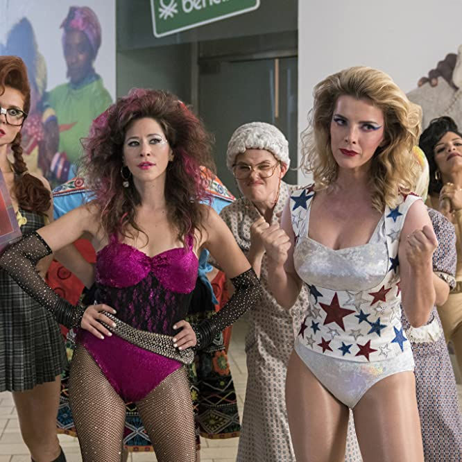 Jackie Tohn, Kimmy Gatewood, Rebekka Johnson, Betty Gilpin, Kate Nash, Shakira Barrera, and Britney Young in GLOW (2017)