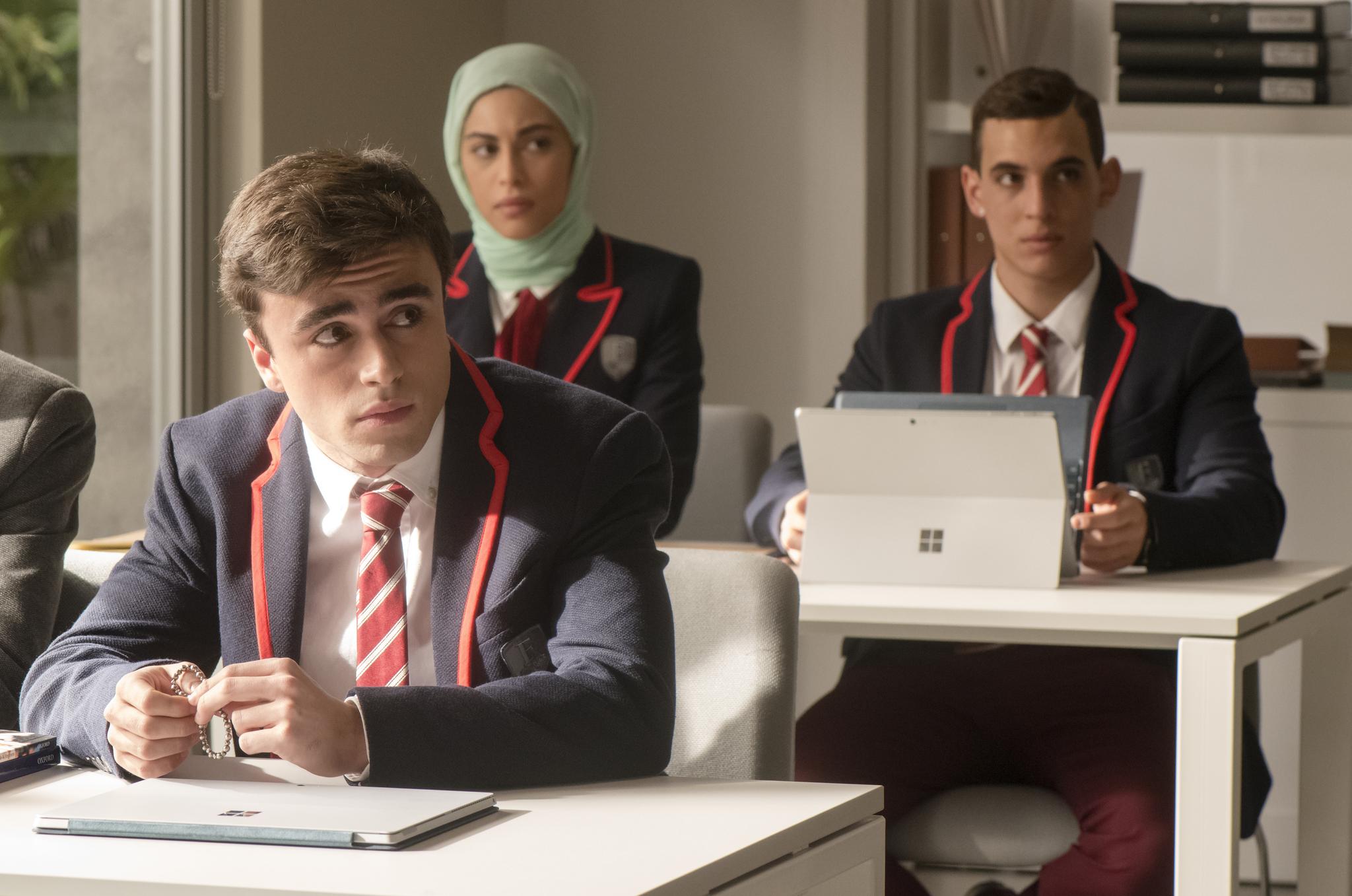 Miguel Herrán, Mina El Hammani, and Itzan Escamilla in Élite (2018)