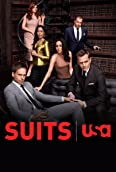 Rick Hoffman, Gabriel Macht, Gina Torres, Patrick J. Adams, Sarah Rafferty, and Meghan Markle in Suits (2011)