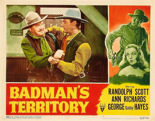 Randolph Scott, Nestor Paiva, and Ann Richards in Badman's Territory (1946)