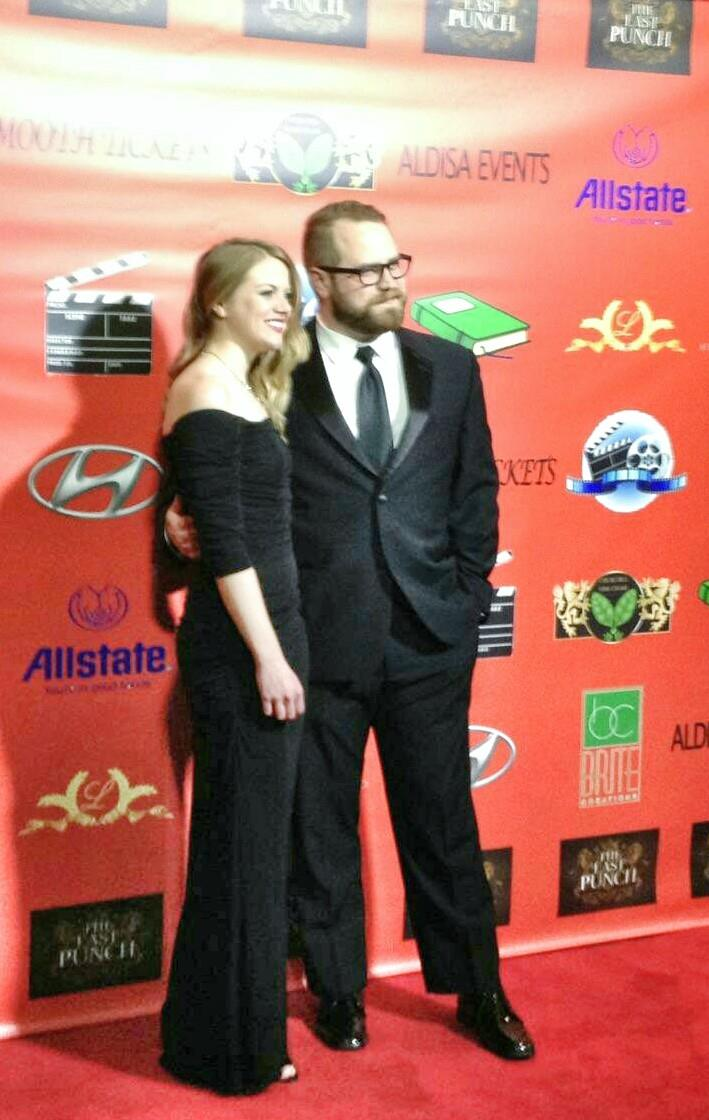 Andrew Scott Bell with his wife Ashley Lynn at the premier of The Last Punch.