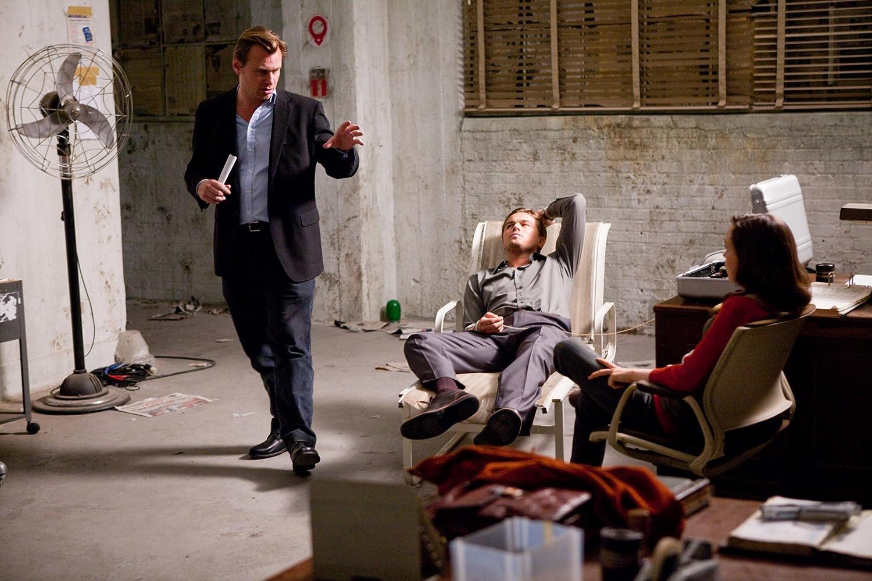 Leonardo DiCaprio, Christopher Nolan, and Ellen Page in Inception (2010)