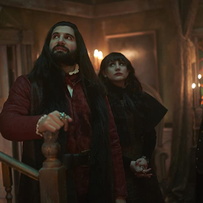 Kayvan Novak, Matt Berry, and Natasia Demetriou in What We Do in the Shadows (2019)