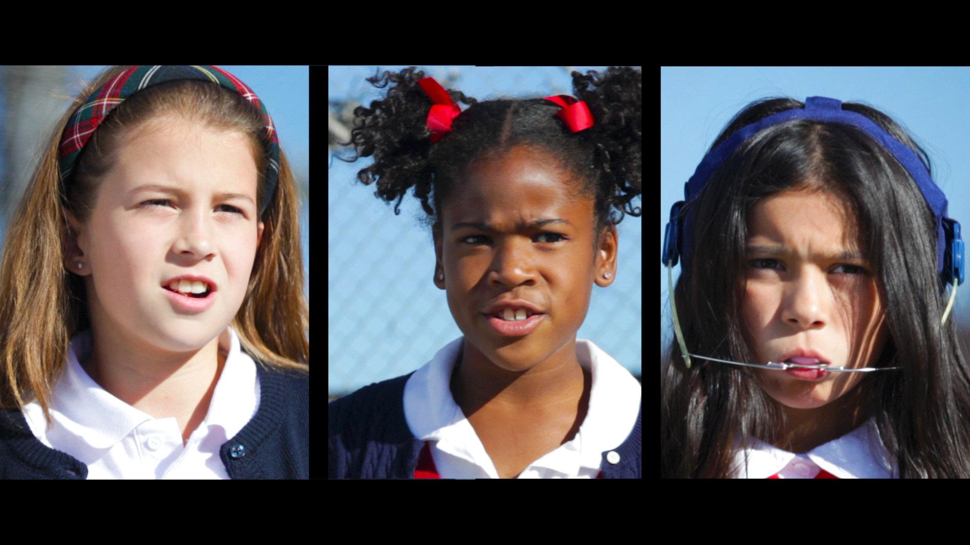 Alexa Hodzic as Rachel Melendez, Maleah Gallien as Chronicles Simpkins and Gianna Gomez as Jessica in Chronicles Simpkins Will Cut Your Ass, directed by Brendan Hughes.