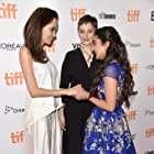 Angelina Jolie, Nora Twomey, and Saara Chaudry at an event for The Breadwinner (2017)