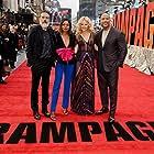 Malin Akerman, Naomie Harris, Dwayne Johnson, and Jeffrey Dean Morgan at an event for Rampage (2018)