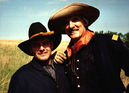 With Dennis Weaver on location for Stolen Women