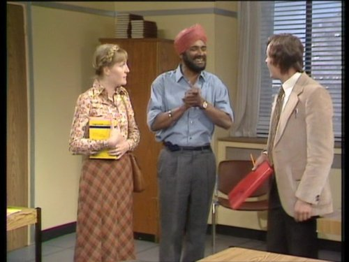 Barry Evans, Jacki Harding, and Albert Moses in Mind Your Language (1977)