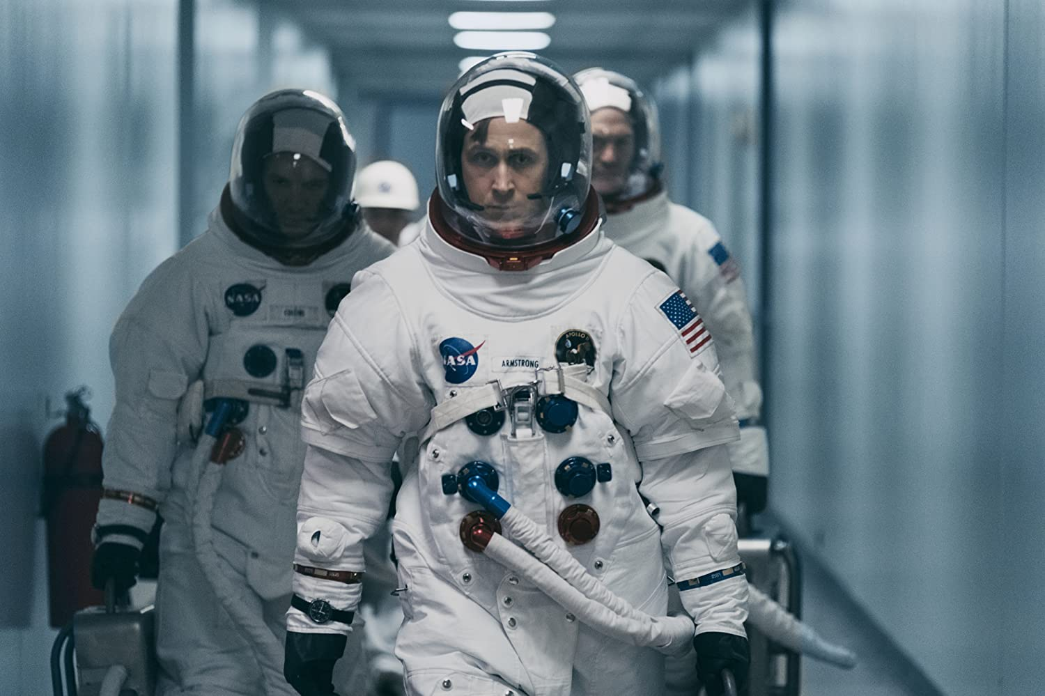 Lukas Haas, Ryan Gosling, and Corey Stoll in First Man (2018)