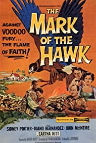 Sidney Poitier, Patrick Allen, Helen Horton, Eartha Kitt, and Marne Maitland in The Mark of the Hawk (1957)