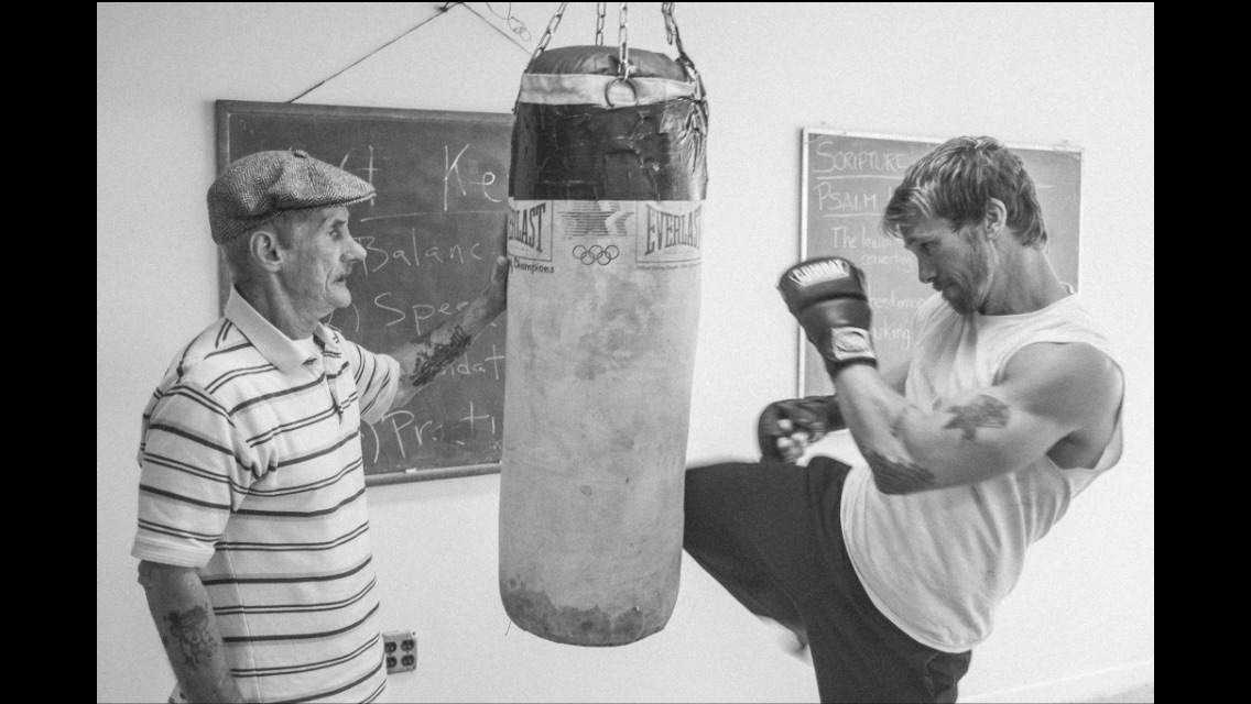 Rusty Joiner with Fight Instructor Jimmy Gator on the set of VOICELESS