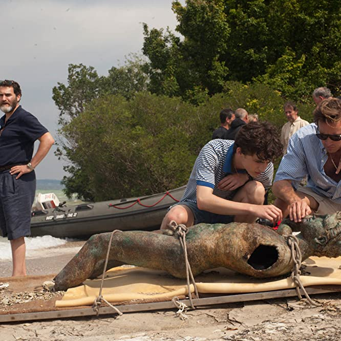 Michael Stuhlbarg, Armie Hammer, and Timothée Chalamet in Call Me by Your Name (2017)
