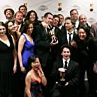 The whole Robot Chicken crew celebrates winning for best TV production