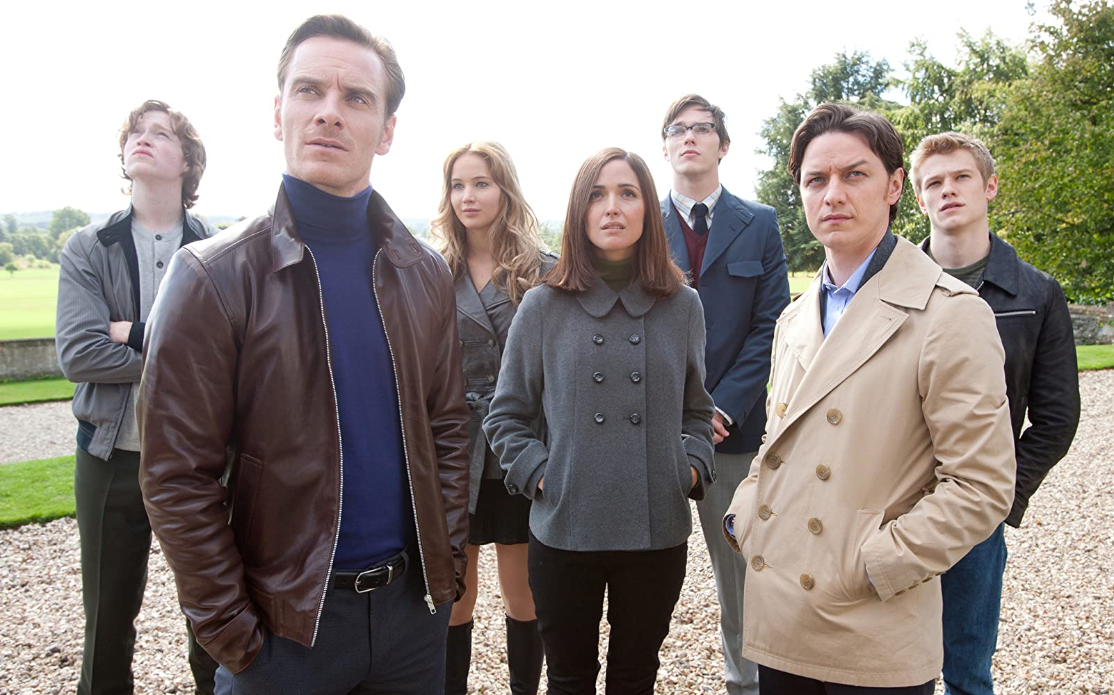 Rose Byrne, Nicholas Hoult, James McAvoy, Michael Fassbender, Lucas Till, Jennifer Lawrence, and Caleb Landry Jones in X: First Class (2011)