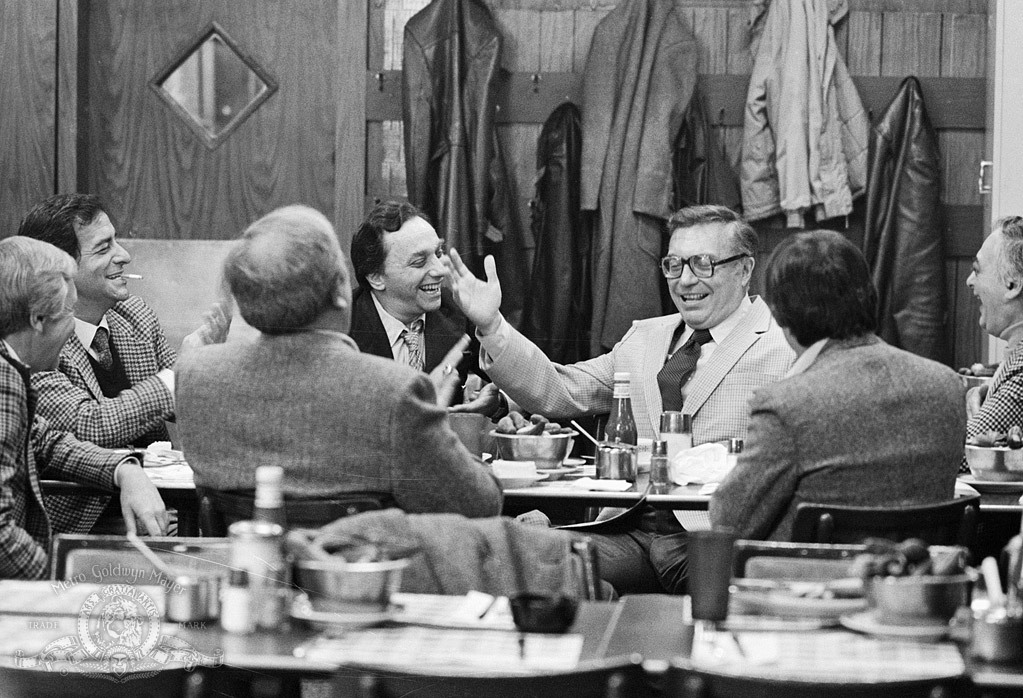 Sandy Baron, Jackie Gayle, Morty Gunty, Will Jordan, Corbett Monica, and Jack Rollins in Broadway Danny Rose (1984)