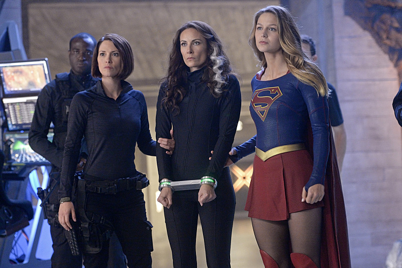 Chyler Leigh, Laura Benanti, and Melissa Benoist in Supergirl (2015)