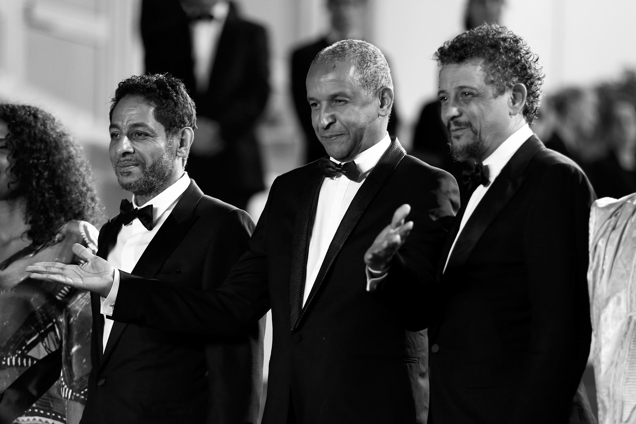 Abel Jafri, Abderrahmane Sissako, and Hichem Yacoubi at an event for Timbuktu (2014)
