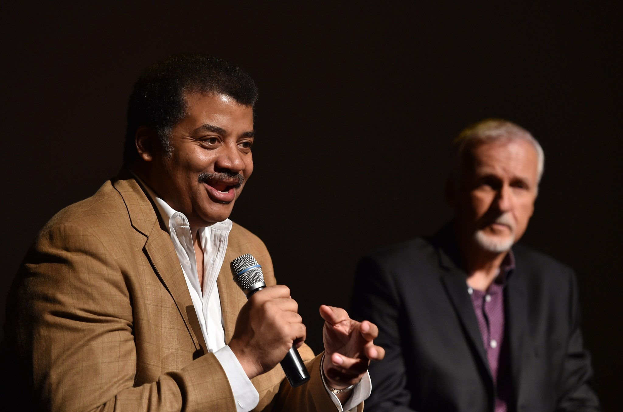 James Cameron and Neil deGrasse Tyson at an event for Deepsea Challenge 3D (2014)
