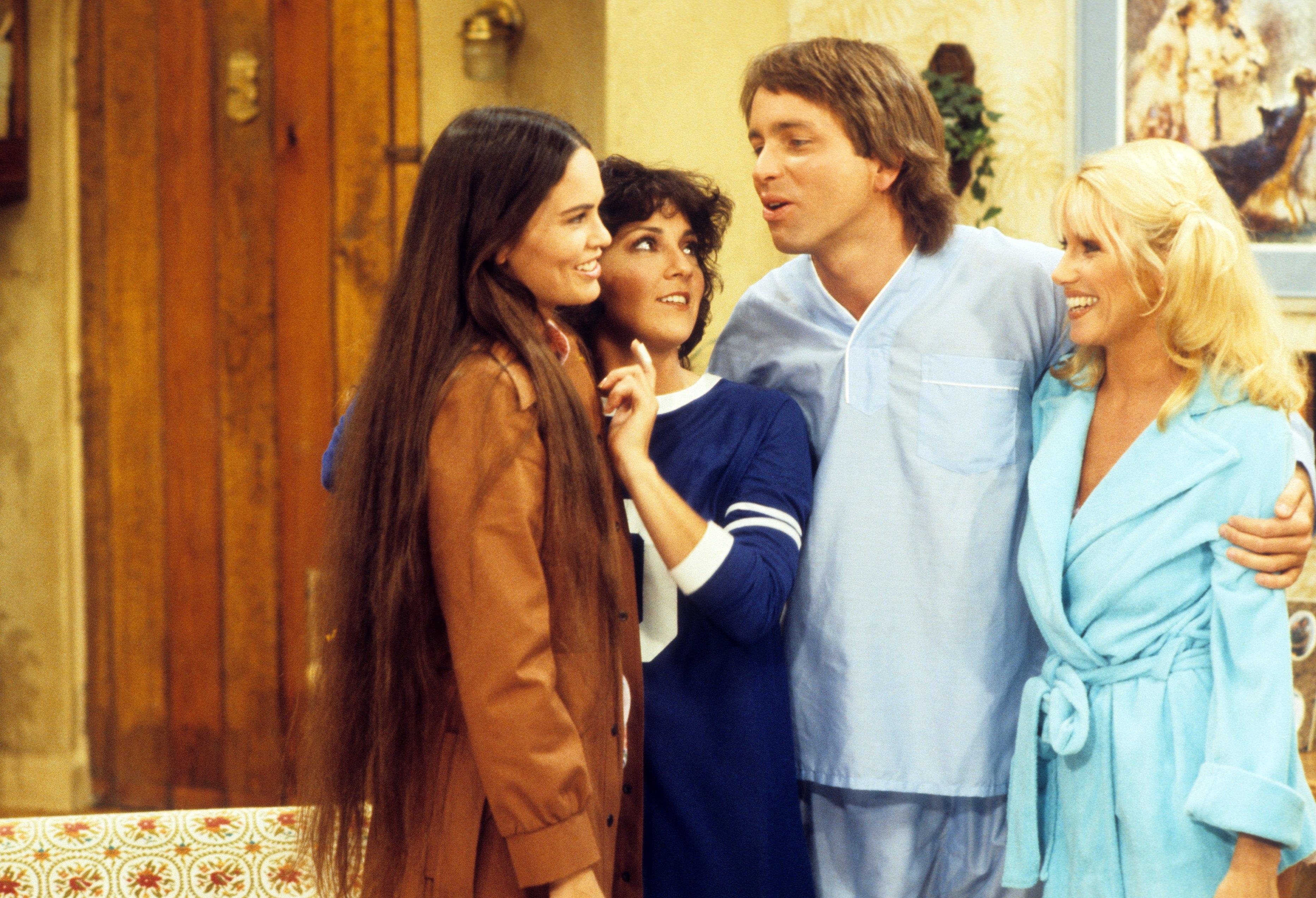 John Ritter, Suzanne Somers, Joyce DeWitt, and Devon Ericson in Three's Company (1976)
