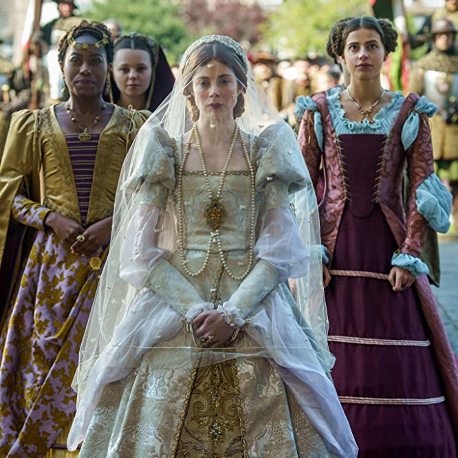 Nadia Parkes, Charlotte Hope, and Stephanie Levi-John in The Spanish Princess (2019)