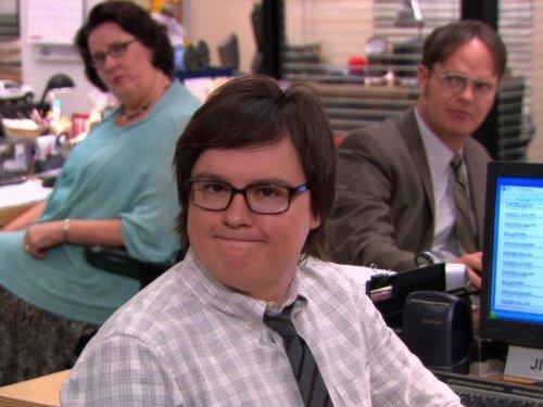 Clark Duke, Phyllis Smith, and Rainn Wilson in The Office (2005)