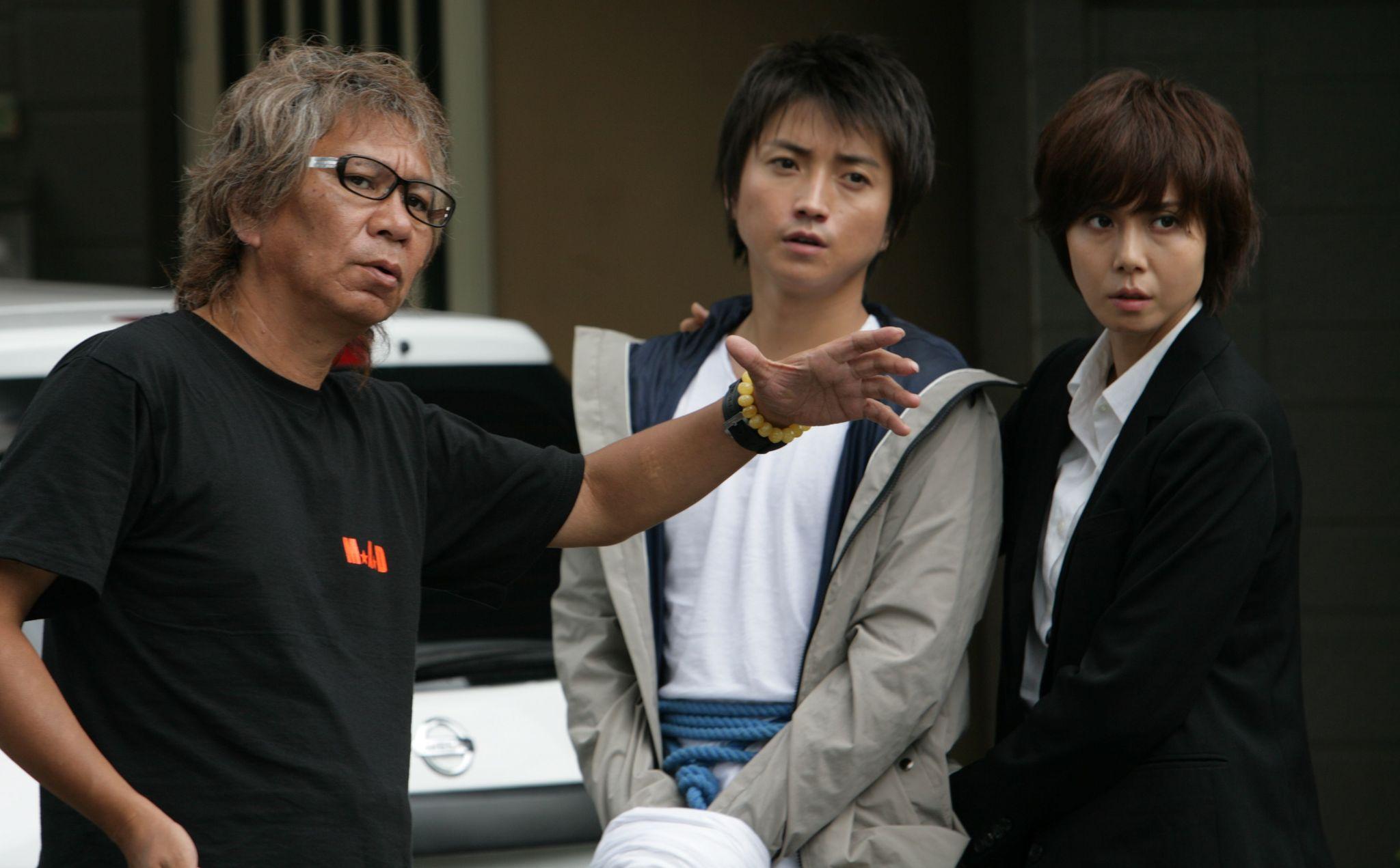 Tatsuya Fujiwara, Nanako Matsushima, and Takashi Miike in Wara no tate (2013)