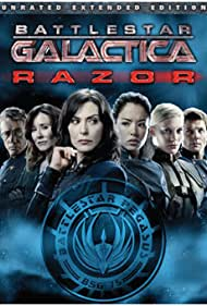 Michelle Forbes, Mary McDonnell, Edward James Olmos, Jamie Bamber, Katee Sackhoff, and Stephany Jacobsen in Battlestar Galactica: Razor (2007)