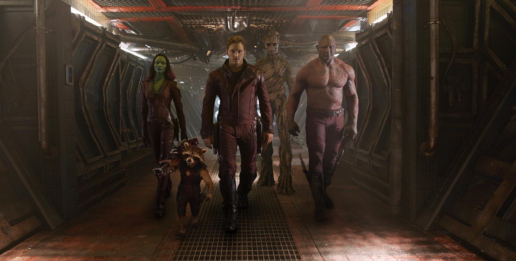 Vin Diesel, Bradley Cooper, Sean Gunn, Chris Pratt, Zoe Saldana, Dave Bautista, and Krystian Godlewski in Guardians of the Galaxy (2014)