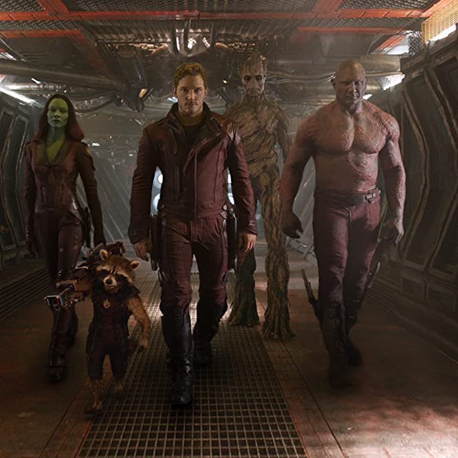 Vin Diesel, Bradley Cooper, Sean Gunn, Chris Pratt, Zoe Saldana, Dave Bautista, and Krystian Godlewski in Guardians of the Galaxy (2014)