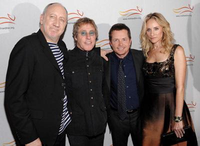 Michael J. Fox, Tracy Pollan, Roger Daltrey, and Pete Townshend