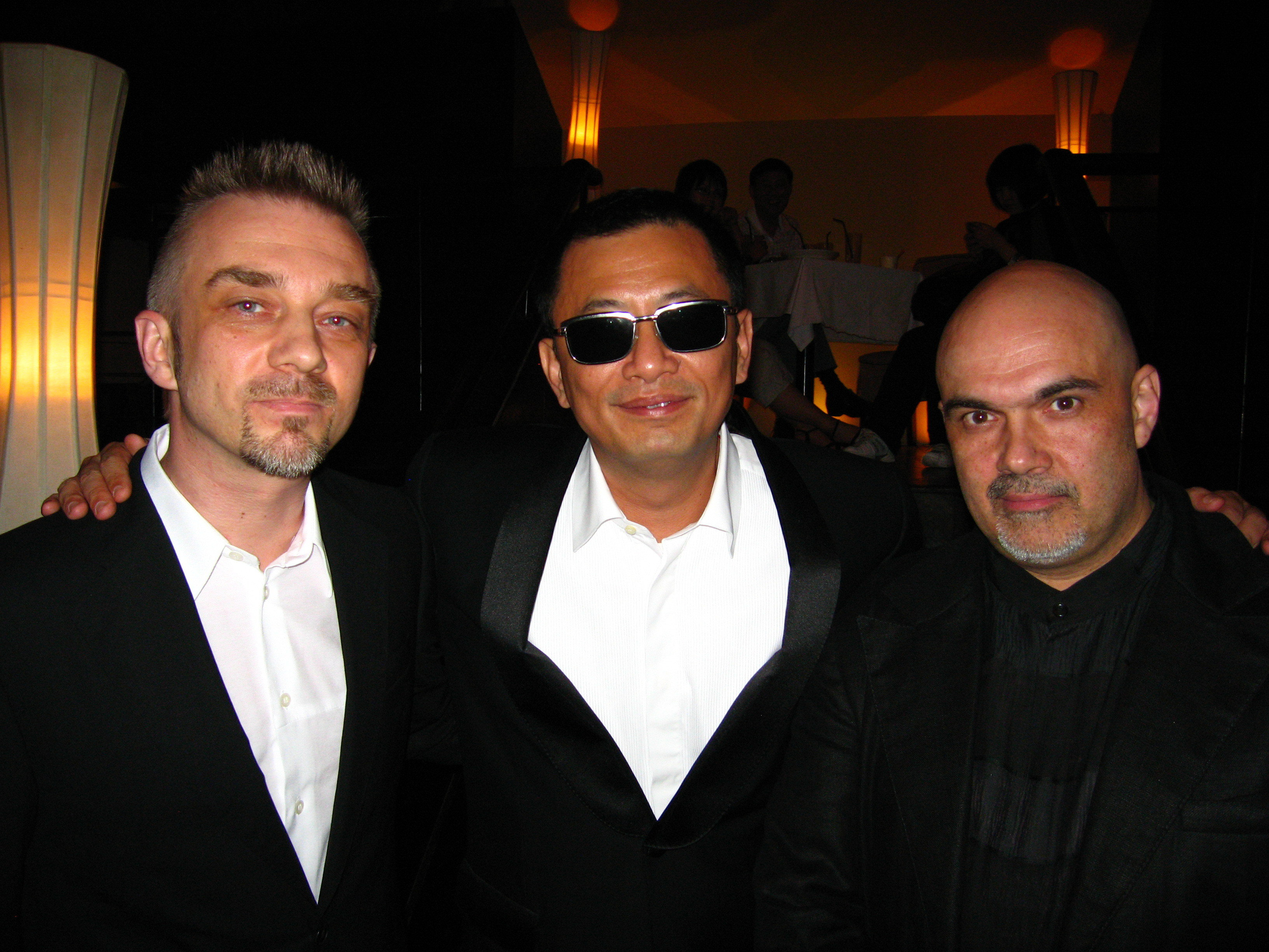 After Award Ceremony of Shanghai Int'l Film festival - (from left) Andrius Mamontovas (Best Music award), Kar Wai Wong (Head of Jury), Maris Martinsons (Best Director award)